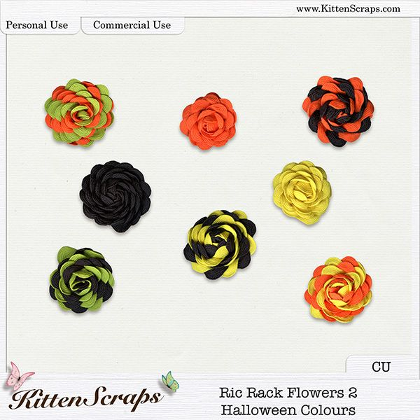 Ric Rack Flowers 2 - Halloween Colours {CU} Digital Scrapbooking Product