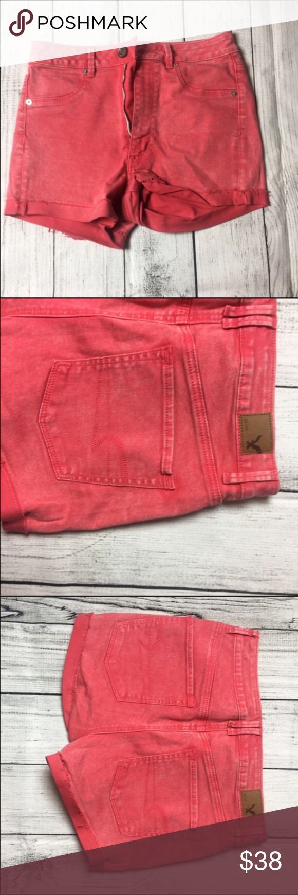 """Super cute high waist acid jean shorts❤️ Super cute acid wash high waisted jean shorts. They are a peachy reddish color. They are super cute and comfy. They are brand new and have never been worn. They are super comfy and stretchy. They have a high waist style to them and the hems a cuffed. They are made out of 98%cotton & 2% elastane materials. Length 12"""" & waist is 14"""" ❤️NWOT American Eagle Outfitters Shorts Jean Shorts"""