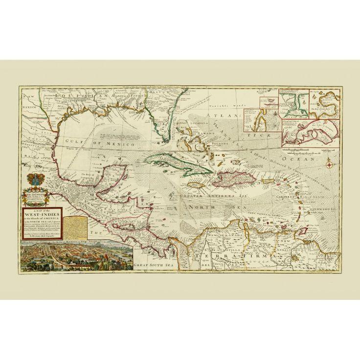 Central America - vintage wall map. Wall art design for yacht or boat. Handmade paper print. #map, #antiquemap, #vintagemap, #oldmap #historicalmap, #mapreproduction #mapreproductions #oldmaps, #vintagemaps, #antiquemaps, #historicalmaps #handmadepaper #maps,#centralamerica, #caribbean  #westindies, #mapdecor, #traveldecor #walldecor, #mapgifts