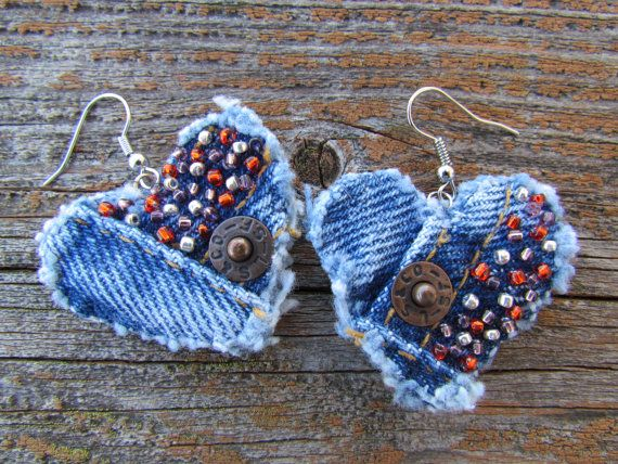 Earring - Heart-Shaped, Recycled Denim - Hand-Beaded - Classic Levi's