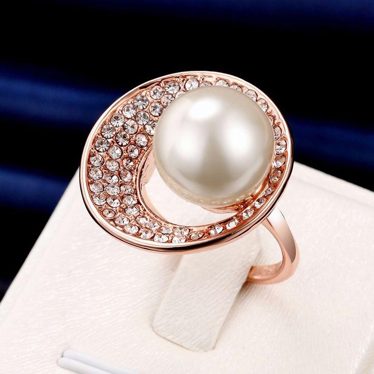 Luxury Rose Gold Circle Rhinestone Pearl Women Wedding Ring