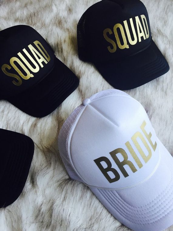 Who is in your SQUAD? This awesome hat set is perfect for any of your wedding festivities. The Metallic Gold text is eye catching and pretty! Order comes with 1 Bride and 4 SQUAD hats  Hats ship in 2-3 weeks. Please order in a timely manner. Hats are adjustable snap back style Custom orders accepted. Please message us for pricing and info.