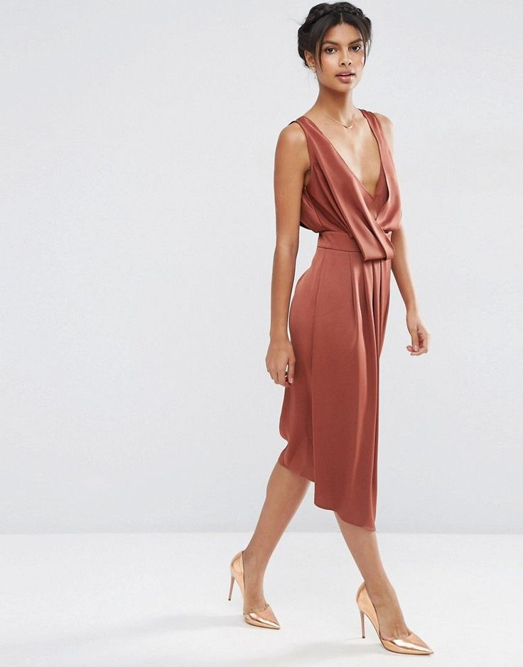 ASOS+Drape+Front+Midi+Dress+with+Cross+Back+. Prom Maxi DressesWrap ...