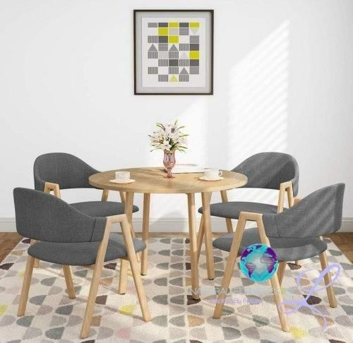 Natural Elements 5 Piece Pine Wood Dining Table And Chairs Set