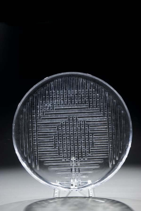 Decorative glass disc, 1965, colorless glass, ground and polished, D: 35,5 cm