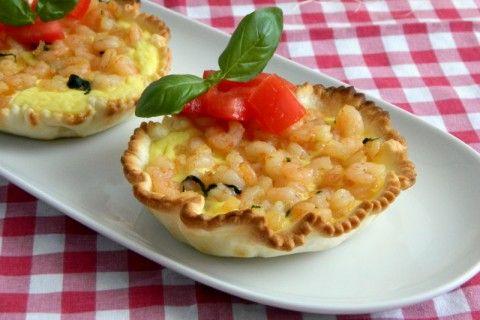 Mini quiche di gamberetti al basilico