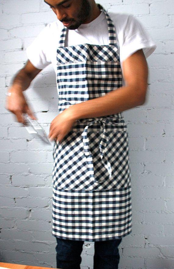 Mens Apron, large apron, navy gingham, chefs apron, workman apron