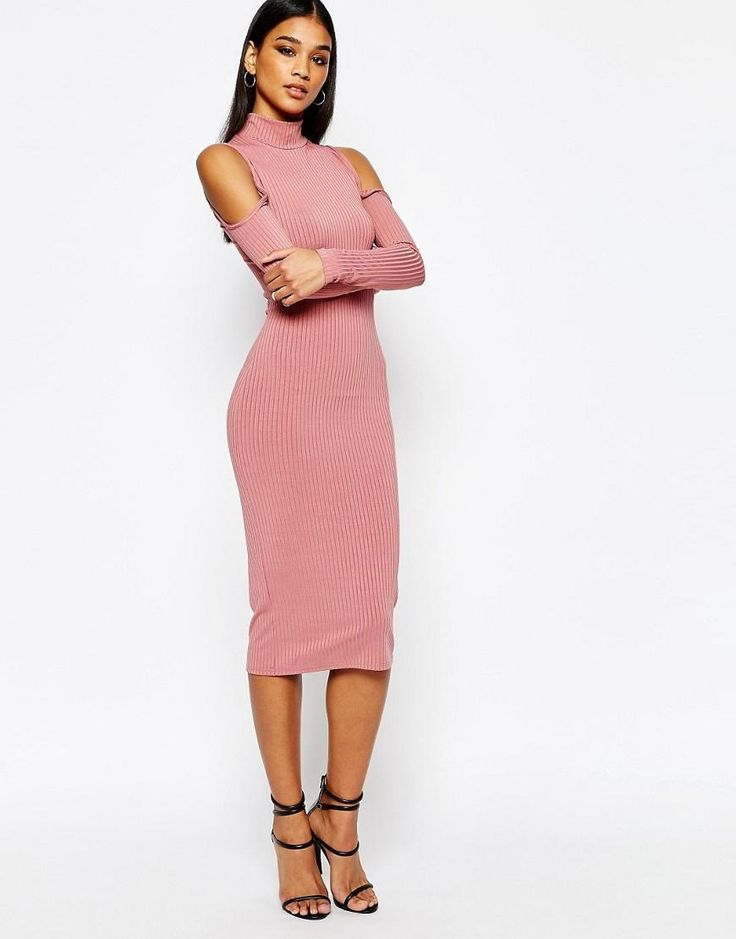 Club L | Club L High Neck Cold Shoulder Rib Dress at ASOS