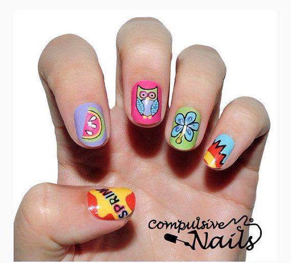 Яркий весенний ногтей обертывания. Розовая сова настоящая лак для ногтей полоски.