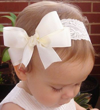 Baby, girl, lady white or ivory or black christening flower girl bridal fascinator vintage bow headband
