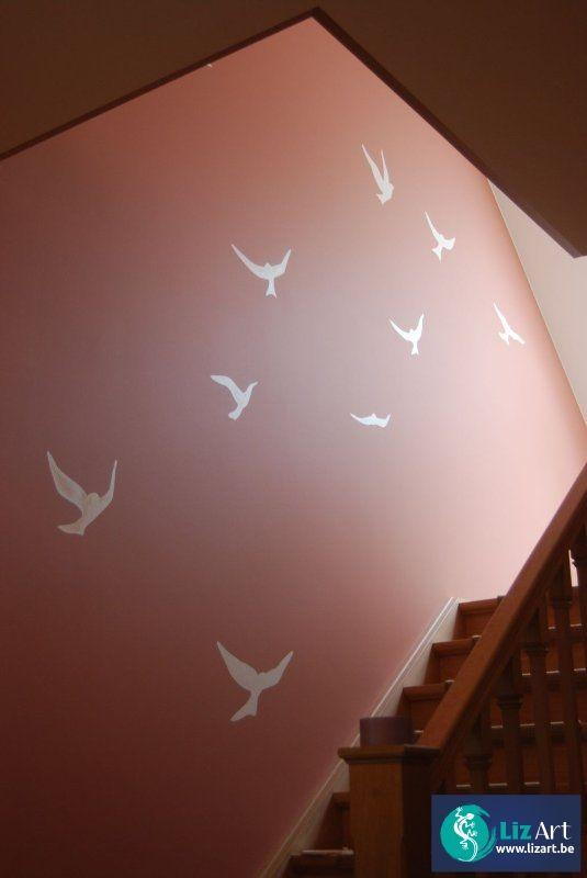 Decoratie silhouetten van vogeltjes in traphal
