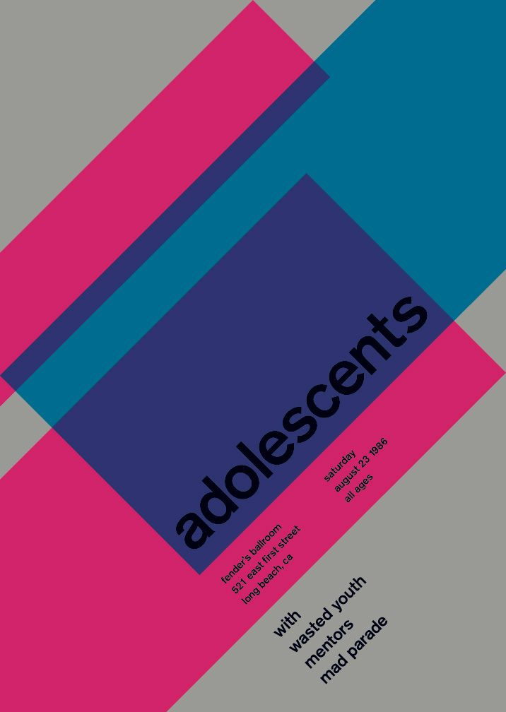 adolescents-at-fenders-ballroom-1986: Design Collection, Mike Joyce, Punk Rocks, Color, Ballrooms, Graphics Design, Swiss Graphics, Pink Blue, Posters