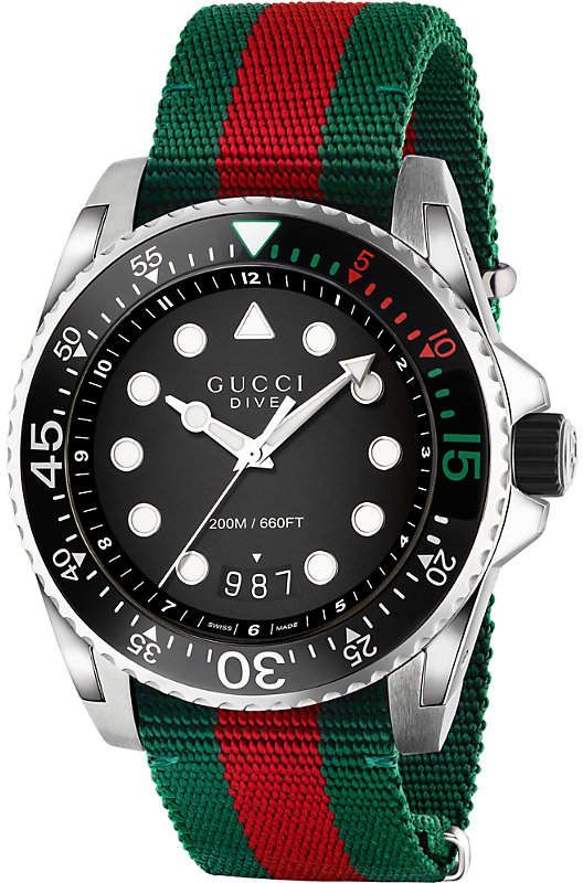 4f12dd2cdc9 Gucci YA136209 Dive nylon and stainless steel watch