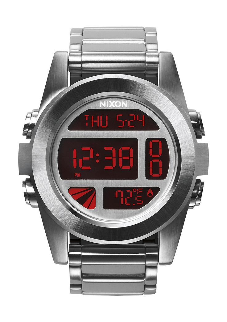 Nixon Unit SS    A DIGITAL FREAK OF NATURE.    Greater than the sum of its parts, The Unit is built stainless steel tough with big brains, precision detailing, and rugged good looks. A custom digital display, dual thermometer, time, timer, chrono alarm, and light. The Unit SS is anything but normal.