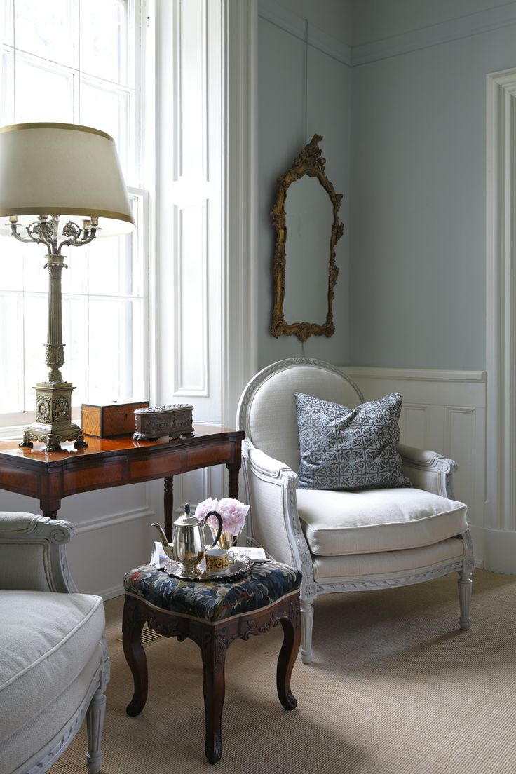 English Country House Dining Room: White French Antique Chair Farrow Ball # 27 Parma Grey Www