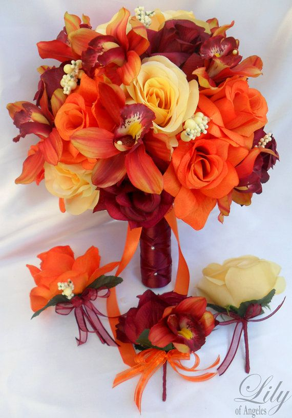 17pcs Wedding Bridal Bouquet Set Decoration Silk by LilyOfAngeles