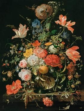 Abraham Mignon - A glass with flowers and orange branch