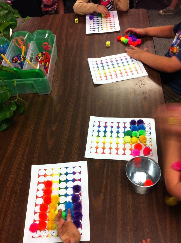 rainbow pom pom toss kindergarten artpreschool mathpreschool colorsdice gamesmath - Kindergarten Color Games