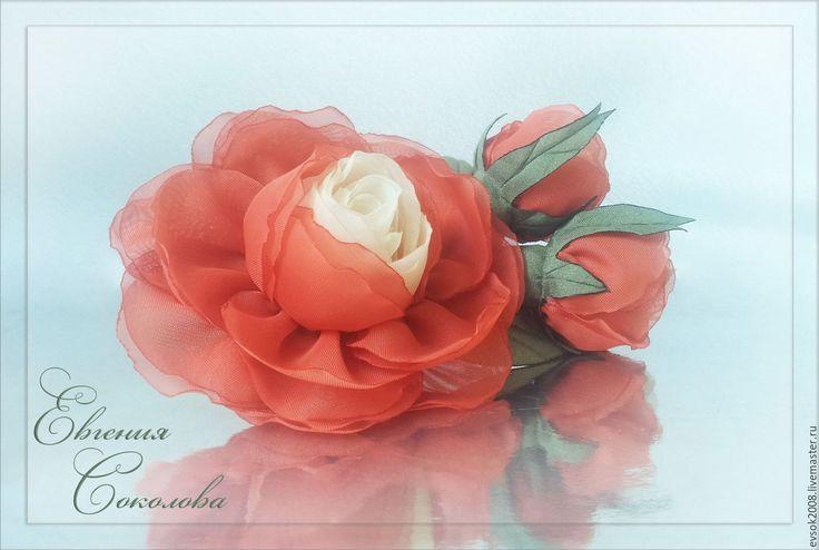 Купить Брошь Роза с бутонами - handmade, розы из ткани, подарок девушке, подарок женщине