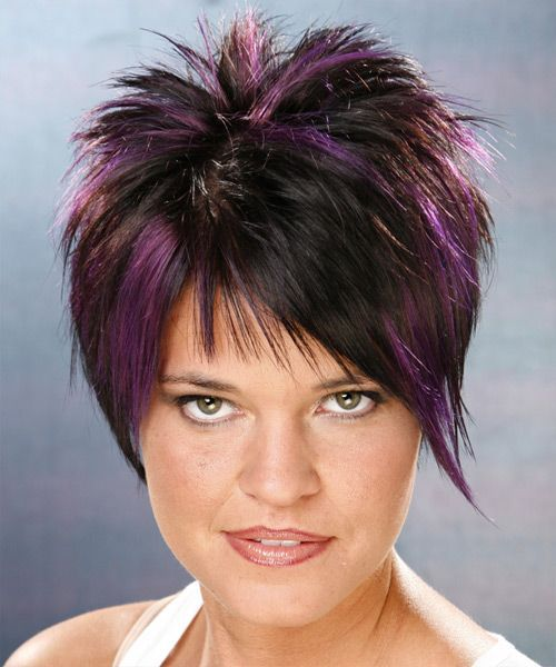 Short Straight Alternative Hairstyle - Black Plum Hair Color with Violet Reflections - #alternative #fresh #straight #short #p