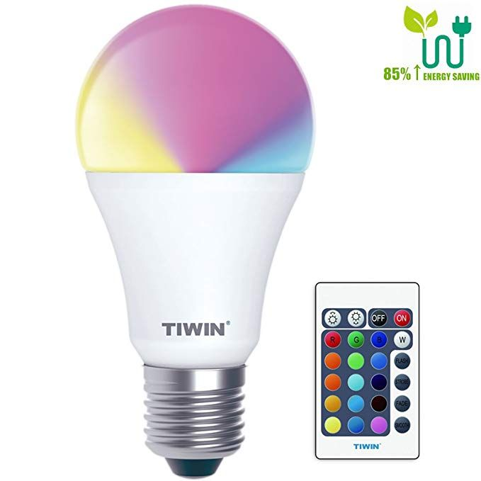 Tiwin Dimmable A19 E26 Led Bulbs 16 Color Choice Memory Function 6w Rgb Multi Color Changing Dimmable Led Light Dimmable Led Lights Led Light Bulbs Led Bulb