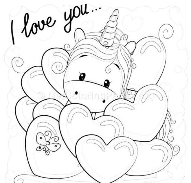 Valentine I Love You Unicorn Coloring Pages Getcoloringpages Org Unicorn Kids Valentine Coloring Pages Printable Unicorn Coloring Buku Mewarnai Warna Unikorn