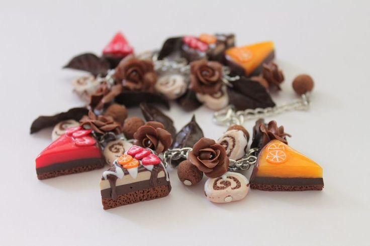 Jewelry Bracelet Chocolate Sweets Cakes Strawberry Orange Handmade #Handmade #Chain