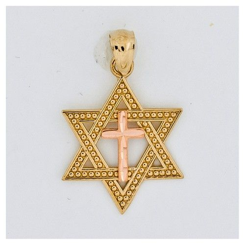 14K Two-Tone Gold Yellow and Rose Gold Polished Jews for Jesus Pendant