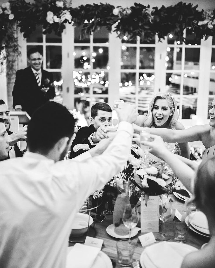 Black and white wedding party reception inspiration