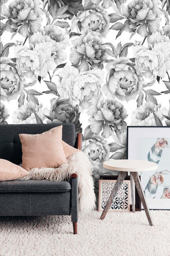Peony Peel And Stick Floral Gray Wallpaper Peonies Wall Mural Temporary Self Adhesive Wall Paper Wallpaper Mural Custom Wallpaper Removable Wallpaper Grey Wallpaper Grey Floral Wallpaper