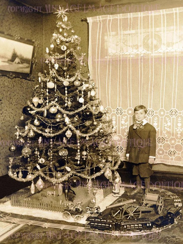 Antique Edwardian Photo Of A Little Boy Beside A Christmas Tree Season Winter Solstice Holiday 5x7 Greeting Card Antique Christmas Tree Old Time Christmas Old Christmas