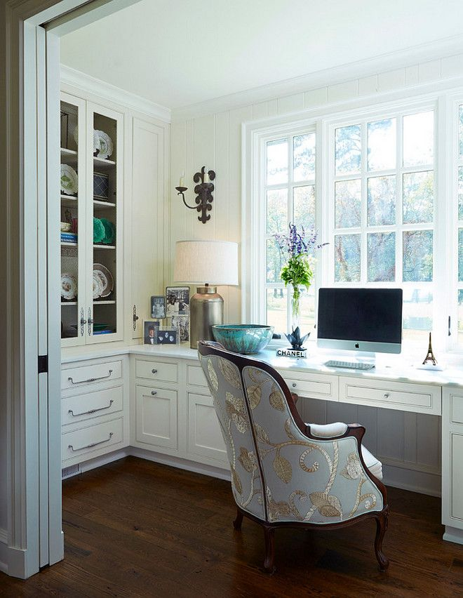 Traditional Home Office. Traditional home office with built in desk painted in Cantley White and Antique French White Oak Hardwood Flooring #Homeoffice #TraditionalHomeOffice #TraditionalInteriors