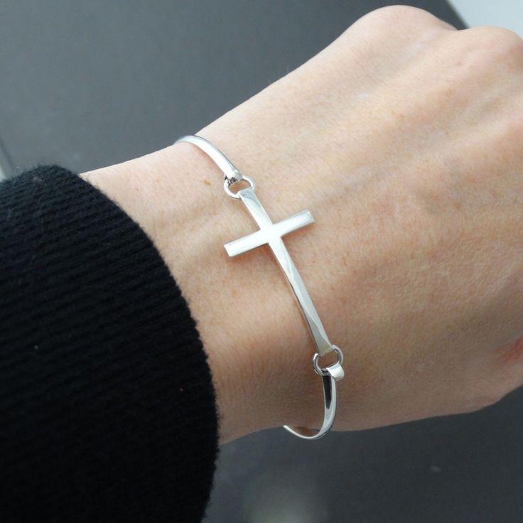 Sideways Cross Bangle Bracelet - 925 Sterling Silver - Sideways Cross Jewelry