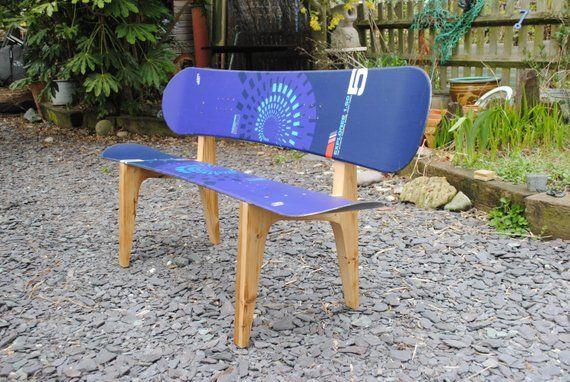 Items Similar To Snowboard Bench On Etsy Skateboard Furniture Upcycled Furniture Diy Diy Furniture