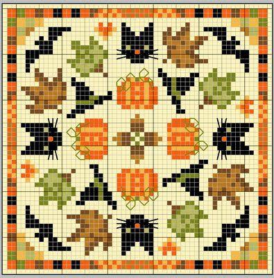 fall biscornu cross stitch freebie: cats, bats, hats, pumpkins and leaves