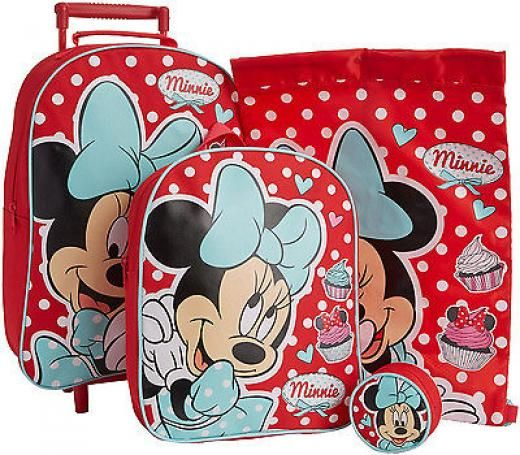 Thomas & Friends Minnie Mouse 4pc Childrens Luggage Set Wheeled Bag Backpack Purse Trainer Kids Travel Officially Licenced Product Red Girls Polyester Tmdminn001169