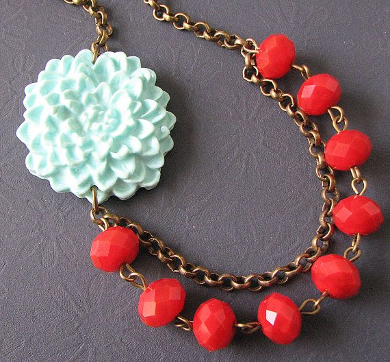 Flower Necklace Mint Jewelry Bridesmaid Necklace Red by zafirenia, $32.00