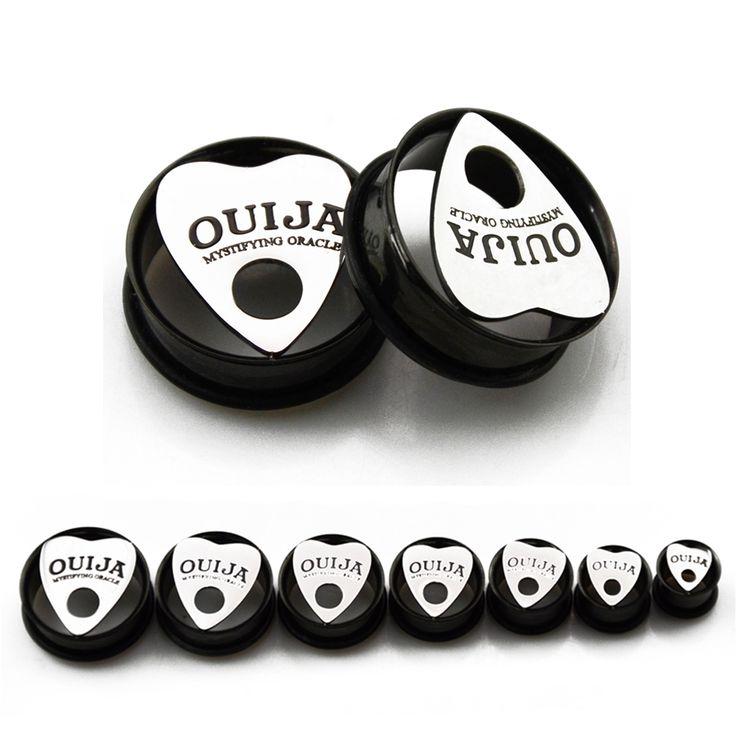 Pair of Stainless Steel Ouija Eyelet Single Flared Flesh Tunnel Ear Plugs Gauges Earrings Body Jewelry