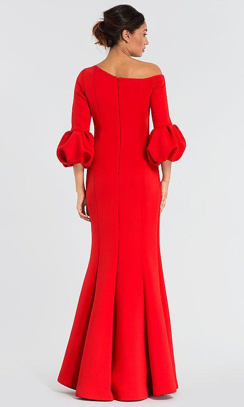 c148bcbd Image of bubble-sleeve long red MOB dress by Jovani. Style: JO-39739 Back  Image