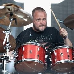 Al Murray performs with his band Geyser at British Summer Time Hyde Park in London