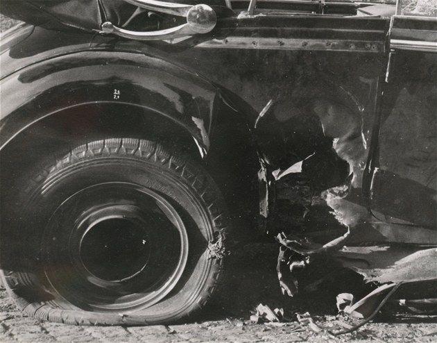 Heydrich's mercedes damaged by explosion of British antitank bomb throwed by Jan Kubiš