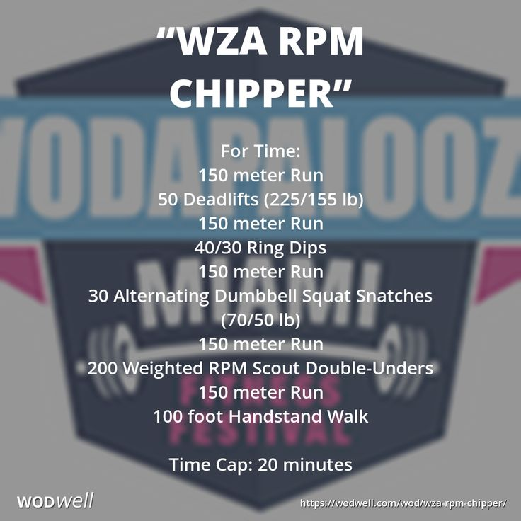 """""""WZA RPM Chipper"""" WOD - For Time: 150 meter Run; 50 Deadlifts (225/155 lb); 150 meter Run; 40/30 Ring Dips; 150 meter Run; 30 Alternating Dumbbell Squat Snatches (70/50 lb); 150 meter Run; 200 Weighted RPM Scout Double-Unders; 150 meter Run; 100 foot Handstand Walk; Time Cap: 20 minutes"""