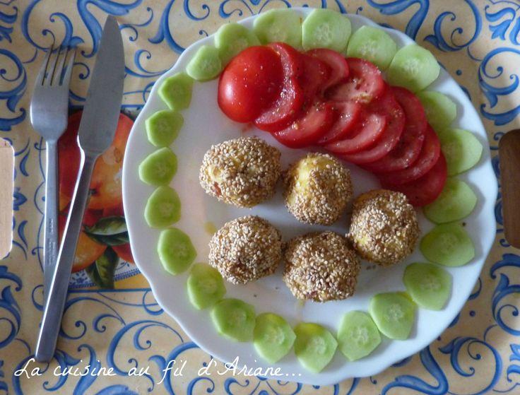 le ssame boulettes de pomme de terre jambon au ssame par la cuisine au