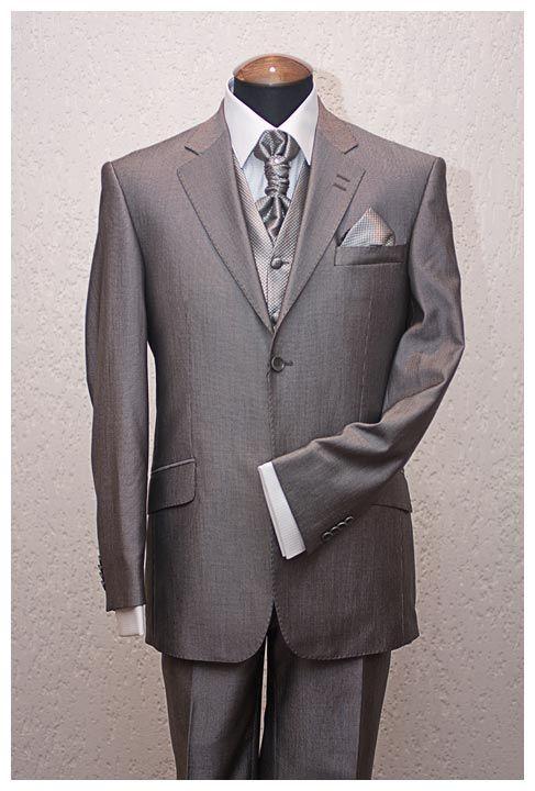Серый мужской костюм френч (воротник - стойка) из шёлка шёлковые брюки
