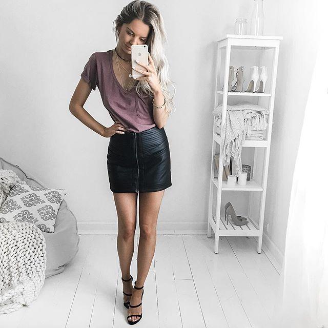 @lulus  Details: Dakota Vegan Leather Mini Skirt Pleasant Surprise Tee Making Magic Nubuk Heels Claws & All Choker