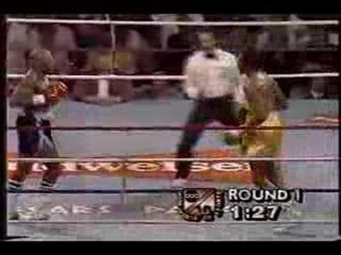 """The greatest round of boxing in history: Marvellous Marvin Hagler vs Thomas """"Hitman"""" Hearns Round 1. They truly hated each other and they set out to prove it here with both men going for a 1st Round knockout. Hearns hit Hagler so hard with a left in this round that he broke his hand. Could any of today's boxers live with this kind of ferocity? Breathless stuff!"""