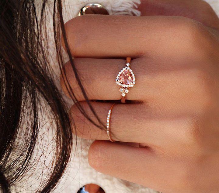 14k Gold and Diamond Champagne Sunstone Trillion Bezel Ring with Diamond Quarter Ring ~ we ❤ this! moncheribridals.com