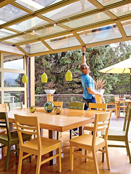 A sun room to double as greenhouse in winter - house extension in the backyard. A definite must do, when we get a spare twenty thou...