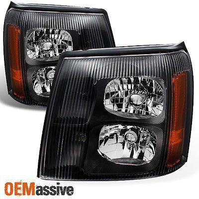 2002 Escalade Black Bezel Halogen Type Headlights Front Lamps Replacement Pair