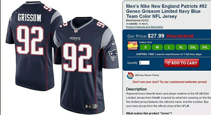 0435c72ec7d ... promo code for mens nike new england patriots 92 geneo grissom limited navy  blue team color